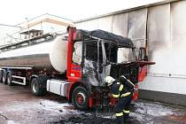 Požár kamionu v Přerově