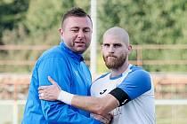 Trenér Přerova David Rojka (vlevo) s kapitánem Ondřejem Václavíčkem