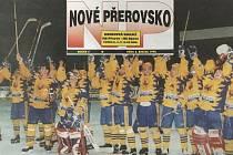 Titulní fotka Nového Přerovska 8. března 1996 po postupu do baráže o extraligu.