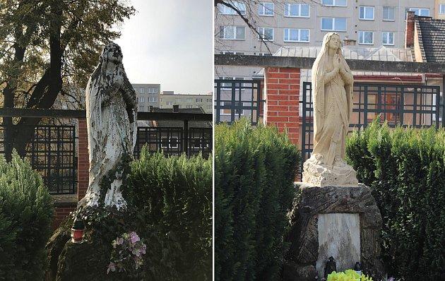 Socha Panny Marie stojí na hřbitově v Předmostí více než sto let – a zrestaurována byla poprvé.