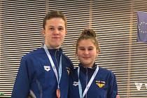 Ploutvoví plavci Fast Fins Přerov Antonín Piňos a Adéla Zapletalová.