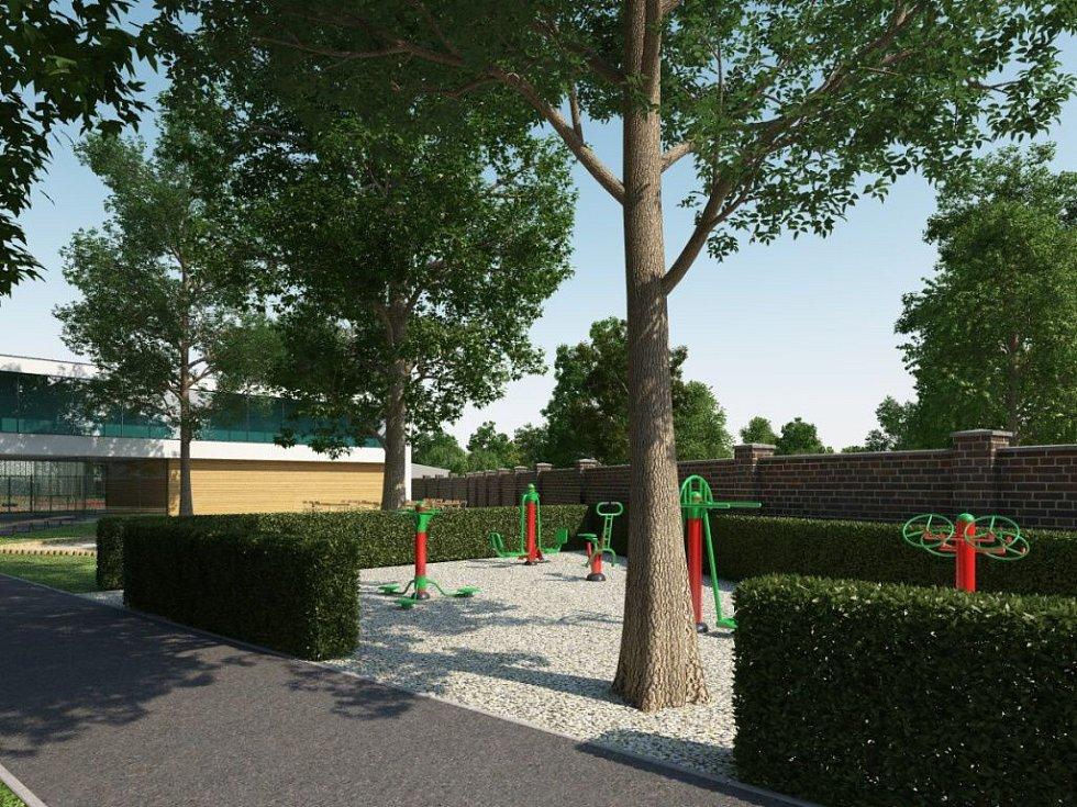 Vizualizace budoucí podoby sokolské zahrady a hřiště v Přerově