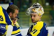Hokejisté HC Zubr Přerov (v modrých dresech) v přípravě proti Aukro Berani Zlín. Foto: Deník/Jan Pořízek