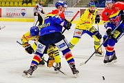 Hokejisté Přerova (ve žlutém) porazili v domácím utkání České Budějovice 2:1