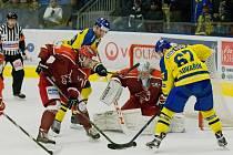 Hokejisté Přerova (ve žlutém) po prodloužení porazili Frýdek-Místek 2:1.