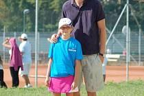 Fotbalista Sigmy Olomouc Marek Heinz s dcerou Izabelou na tenisovém turnaji v Přerově.