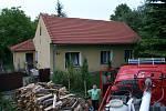 Požár domku v Týně nad Bečvou