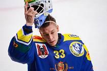 Hokejisté Přerova (v modrém) proti Třebíči. Lukáš Klimeš