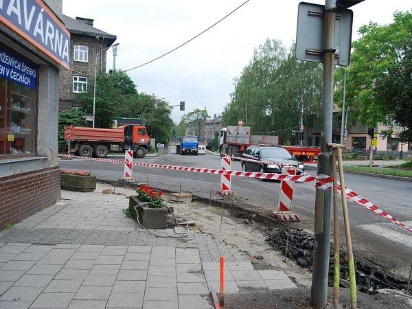 Opravy vHusově ulici unádraží vPřerově