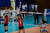 Volejbalistky Přerova (v bílém) proti PVK Olymp Praha. Ilustrační foto