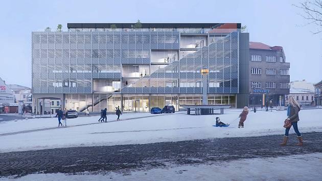 Vítězný návrh nového vzhledu administrativní budovy na Masarykově náměstí v Přerově - 1. místo - Anagram&Gruppa - Marina Kounavi, Anne-Sereine Tremblay, Jan Kudlička (Barcelona a Rotterdam, Španělsko a Nizozemsko