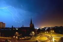 Blesky v Přerově ze sobotní noci 29. srpna.