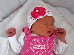 Adéla Prášilová, Věrovany, narozena dne 13. června 2016 v Přerově, míra: 50 cm váha: 3294 g