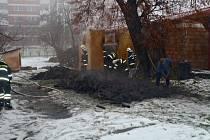 Požár kůlny v Kojetíně