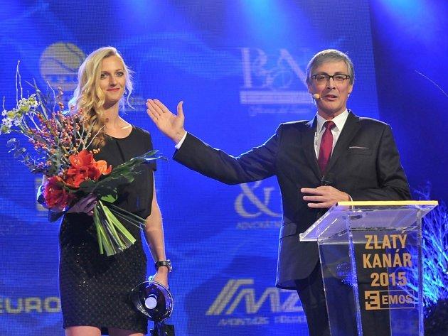 Zlatý kanár 2015 - Petra Kvitová příjímá gratulace