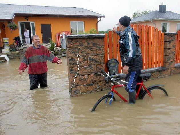 Zaplavené Domaželice na Přerovsku