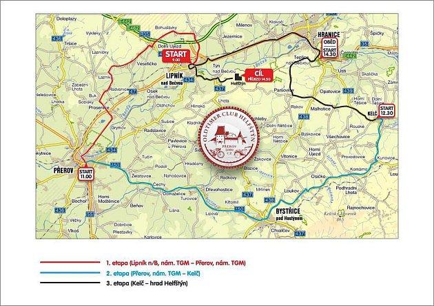 Helfštýnský okruh 2011 - mapka jednotlivých etap