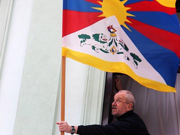 Vlajka pro Tibet v Přerově. Ilustrační foto