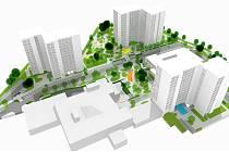 Návrh toho, jak by mohlo v budoucnu vypadat panelové sídliště v ulici Budovatelů - Circulos Meos, Olomouc