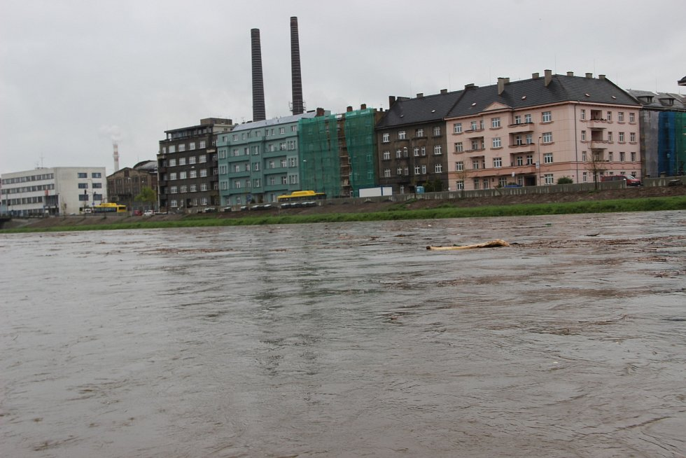 Bečva v Přerově 28. dubna 2017