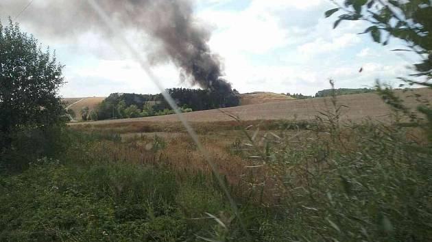 Požár skládky v Hradčanech