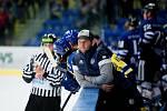 Hokejisté Přerova (ve žlutém) doma proti Havířovu. Lukáš Menšík