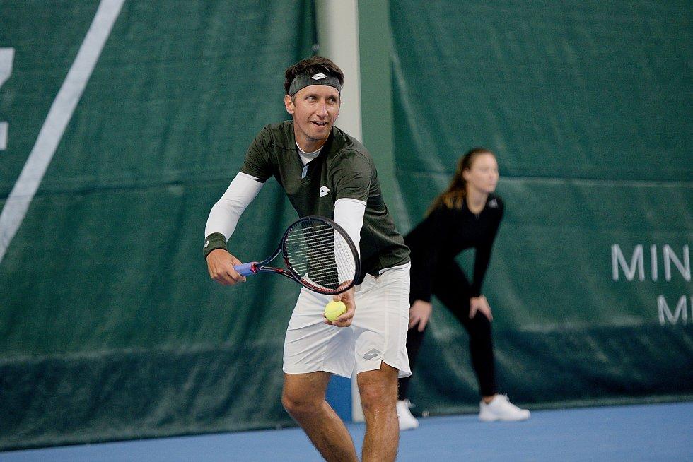 Tenisté TK Precheza Přerov v předkole Tenisové extraligy 2019 proti celku Severočeská tenisová. Sergij Stachovskij (Stakhovsky)