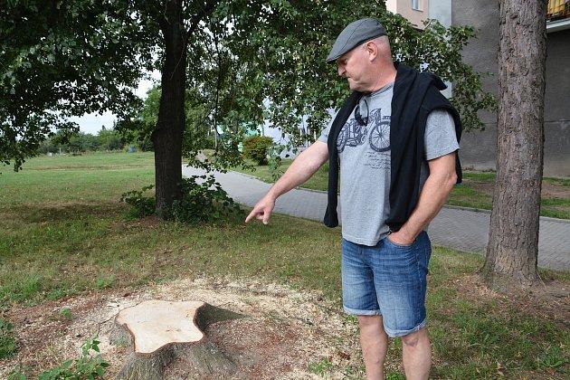 Jiří Klement, který bydlí v Želatovské ulici v Přerově, (na snímku) nesouhlasí s kácením stromů v této čtvrti. Podle něj byly stromy zdravé a důvod k jejich odstranění nebyl.