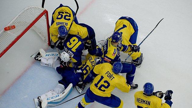 Hokejisté Přerova (ve žlutém) proti PSG Berani Zlín