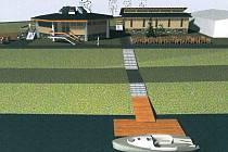 Ambiciózní návrh Boleslava Leinerta představuje loděnici s kruhovým půdorysem, posezení, kemp i parkoviště