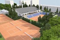 Vizualizace nové tenisové haly a jejího okolí v Přerově