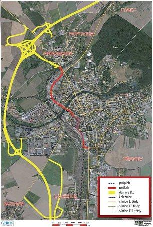 Trasa dálnice D1 kolem Přerova a průpich městem