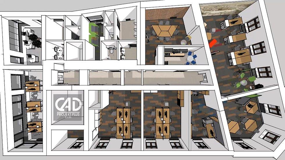 Vizualizace proměny historického Blažkova domu na Masarykově náměstí v Přerově