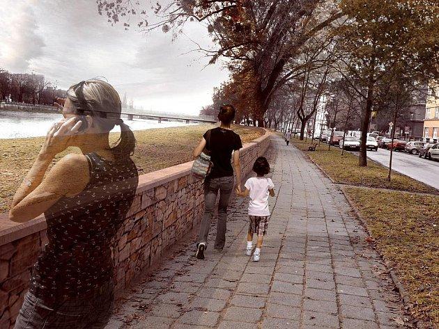 Vizualizace nové nábřežní zídky v Přerově z ledna 2012
