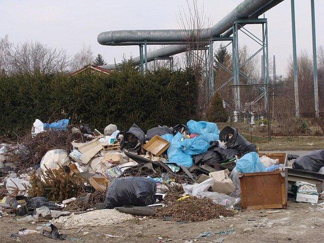 Jedna z černých skládek v Přerově leží v zahrádkářské kolonii směrem k Mádrovu podjezdu. Je zde povoleno odkládání pytlovaného odpadu, lidé sem ale vyhazují i úplně jiné věci.