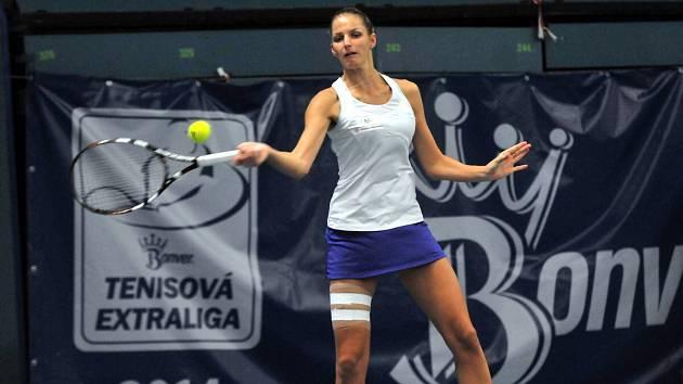 Karolina Plíšková v zápase tenisové extraligy 2014 v Přerově
