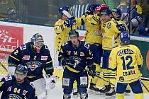 Hokejisté Přerova (ve žlutém) doma porazili Ústí nad Labem 4:1