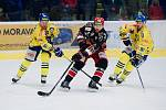 Hokejisté Přerova (ve žlutém) proti Prostějovu