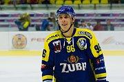 Hokejisté HC Zubr Přerov (v modrých dresech) v přípravě proti Aukro Berani Zlín. Matouš Kratochvíl. Foto: Deník/Jan Pořízek