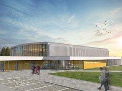 Vizualizace sportovní haly v Lipníku nad Bečvou, jejímž autorem je architekt Jaroslav Štěpán.