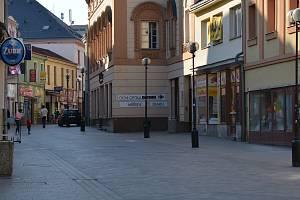 Centrum Přerova v čase koronaviru. Ilustrační foto