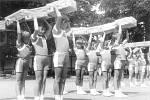 Dny Požárníků 16. června 1985. Oslavy 80. výročí založení svazu PO v Oseku nad Bečvou. Při slavnost na hřišti předvedli spartakiádní skladby žáci místní ZŠ.