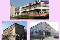 Kam s knihovnou v Přerově? Tři varianty - 1. Budova bývalého Chemoprojektu v ulici Trávník (na obrázku vpravo dole), 2. Bývalá armádní budova v Čechově ulici (vlevo dole), 3. Budova bývalé banky v Palackého ulici (nahoře)