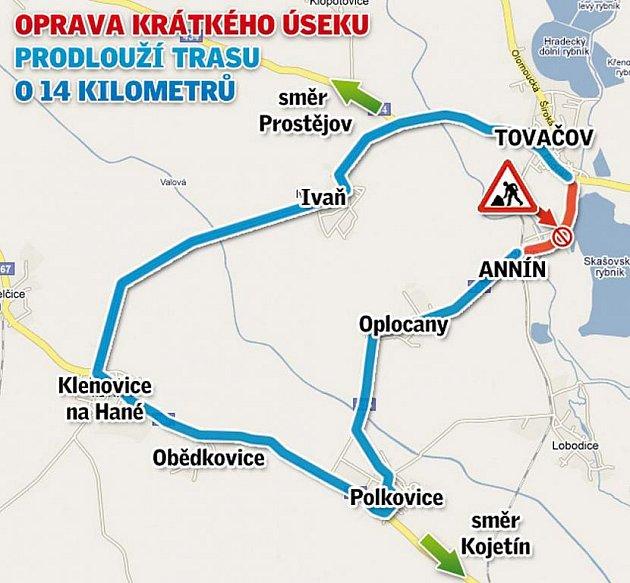 Mapka objížďky Tovačova