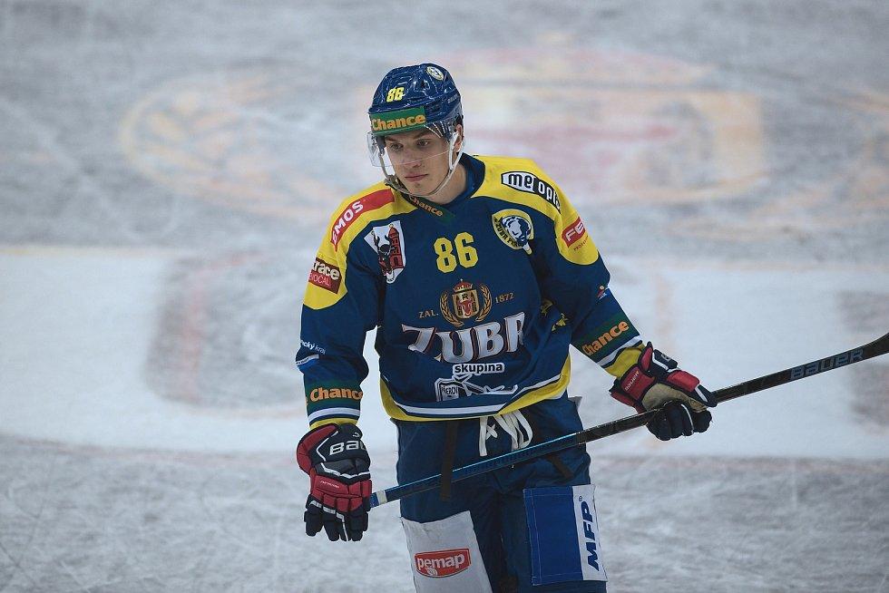 Hokejisté Přerova (v modrém) proti Vsetínu. Matěj Svoboda