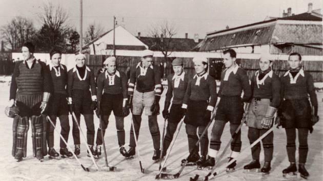 Hokejové mužstvo Dělnické tělovýchovné jednoty v Lipníku nad Bečvou v roce 1939, zleva stojí hokejisté Táborský, Vágner, Machálka, Šenk, Smíšek, Michalík, Krejčiřík, Slezák, Kolich, Kučera.