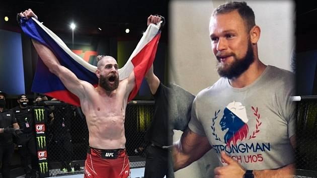 Jiří Procházka po triumfu v Las Vegas (vlevo) a přerovský strongman Jiří Tkadlčík