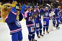 Přerovští Zubři proti českobudějovickému Motoru. Růžovou barvou na dresech podpořili charitativní akci Srdce Zubra bije pro ženy