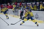 Hokejisté Přerova (ve žlutém) v prvním utkání druhé části Chance ligy proti Porubě. Jan Berger