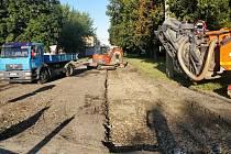 Oprava příjezdová komunikace do areálu Přerovských strojíren. Ilustrační foto